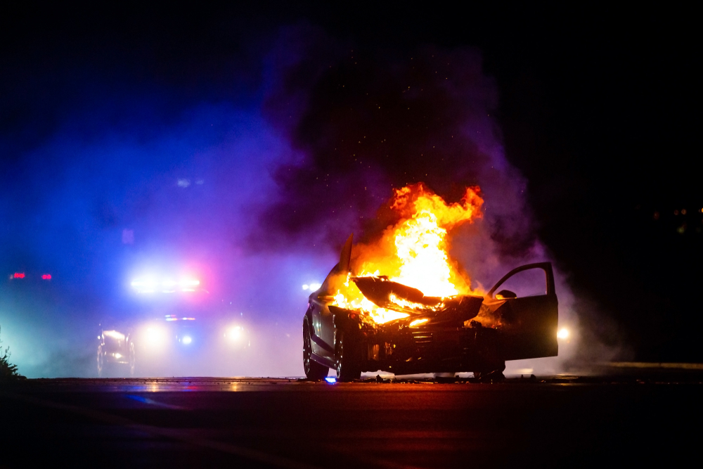 Knowlton – Driver Severely Burned in Car Fire